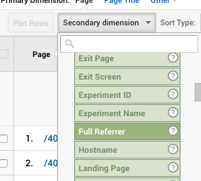 Behavior - Full Referrer Google Analytics dropdown